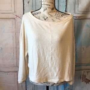 Free People Top Oversized Casual Cream Cropped